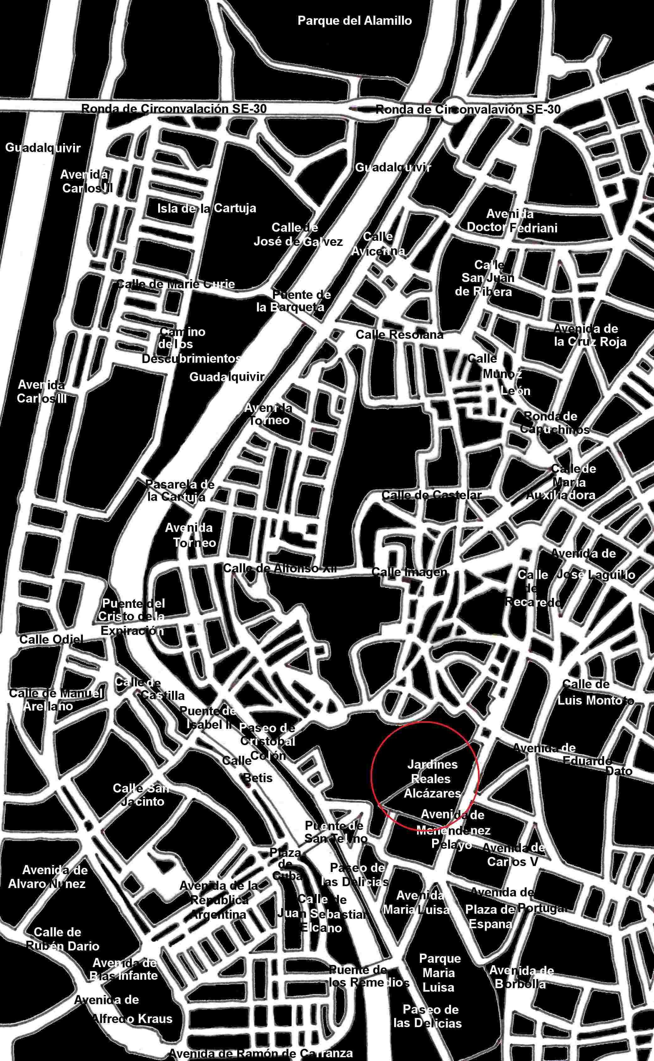 Stadtplan Sevilla Jardines del Alcazar