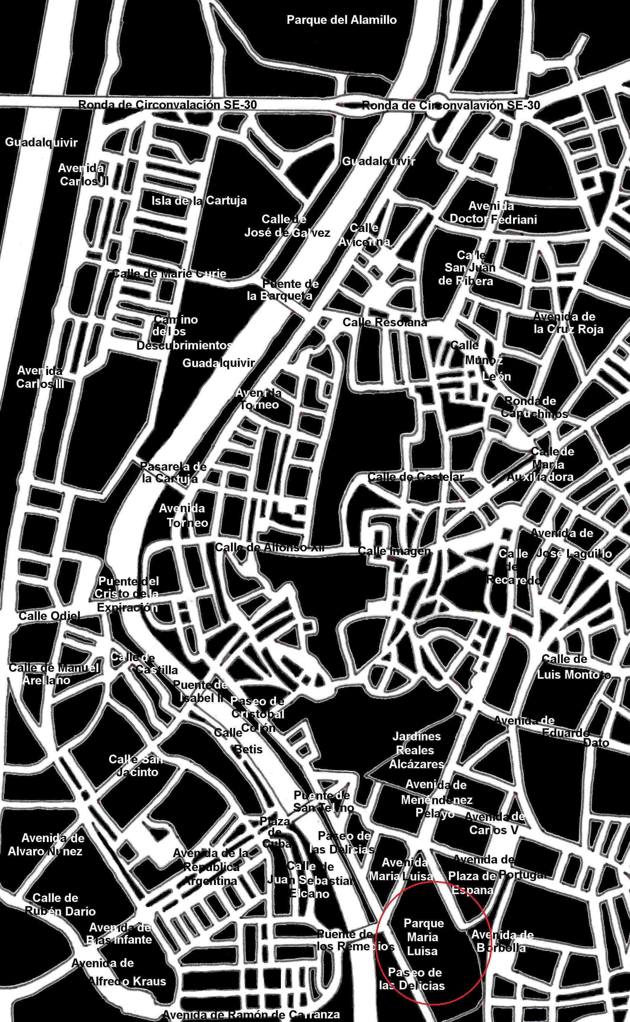 Stadtplan Sevilla Parque Maria Luisa